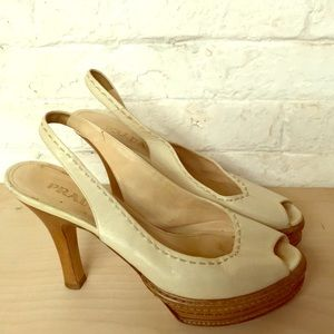 PRADA white slingback pumps with white stitching